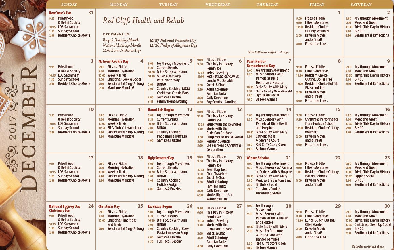 Red Cliffs December activity calendar