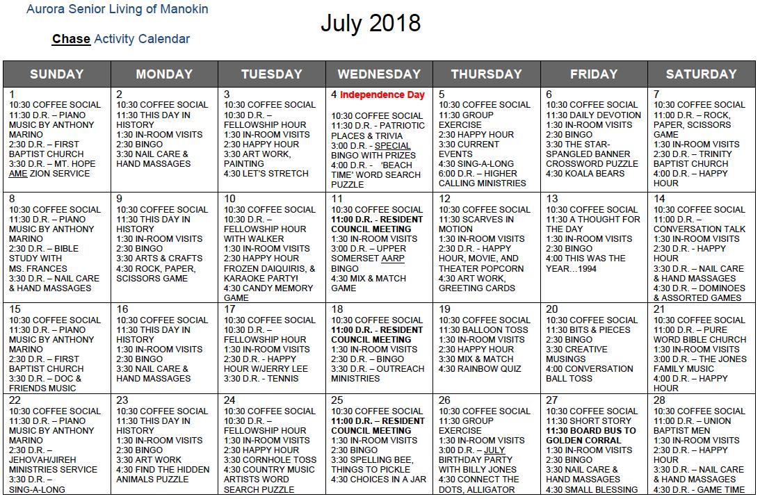 Manokin Chase July calendar