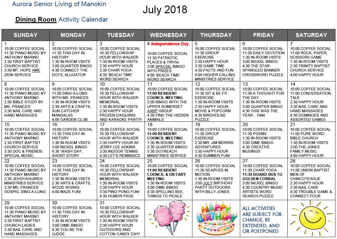 Manokin July dining room calendar