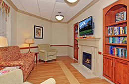 Montevue recreation room with a flat screen TV and a fireplace