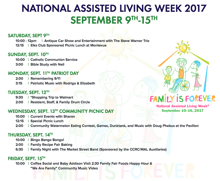 National Assisted Living week schedule of activities