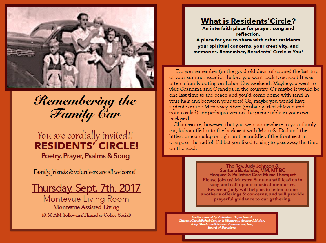 Resident Circle flyer of activities