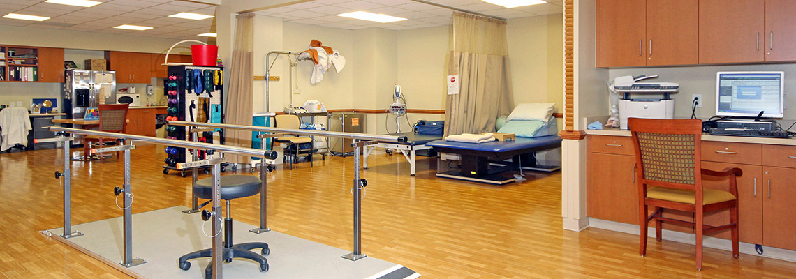 Citizens rehabilitation room with equipment and beds ready for resident use