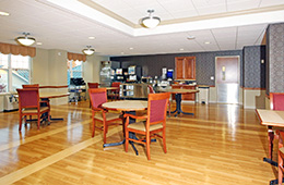 resident dining area with beautiful clean floors