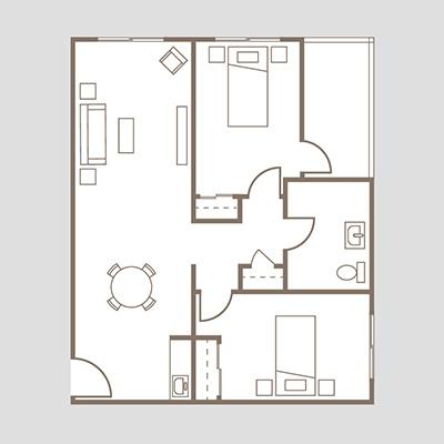 Coronado Heights Unit D two bedroom suite