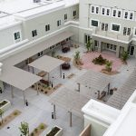 aerial view of outdoor seating areas