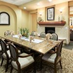 private dining room with fireplace