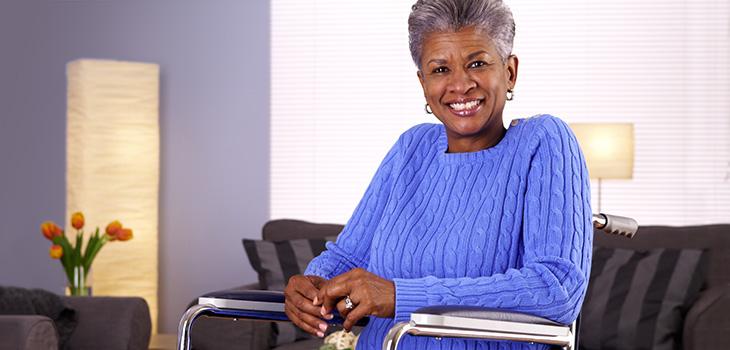 lovely elderly woman wearing a cozy sweater