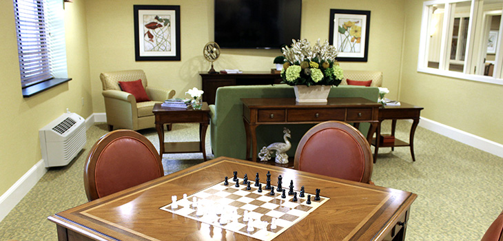 chess board in recreation room