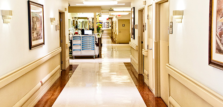 Pacific Palms long clean hallway