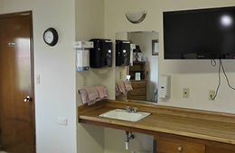 Resident washing area and flat screen television