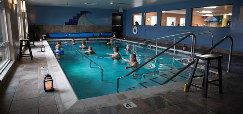 people doing aqua aerobics in the pool