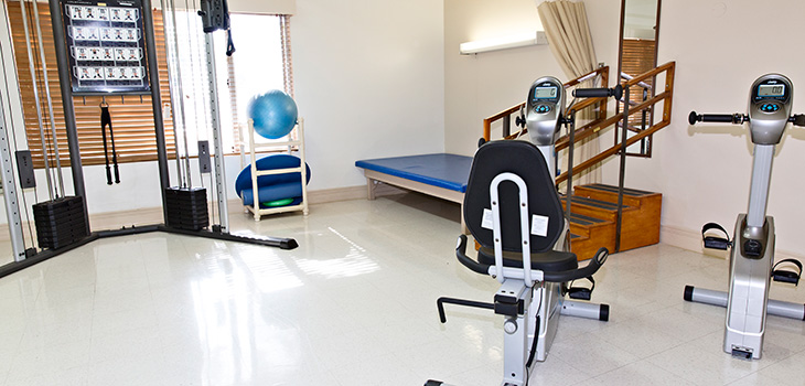 Rehabilitation Gym with clean equipment