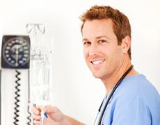 Nurse fixing an IV