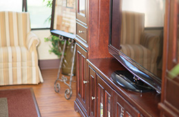 close up of entertainment area with a television