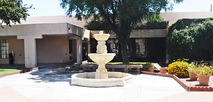 Fountain by front entrance of Apache Junction