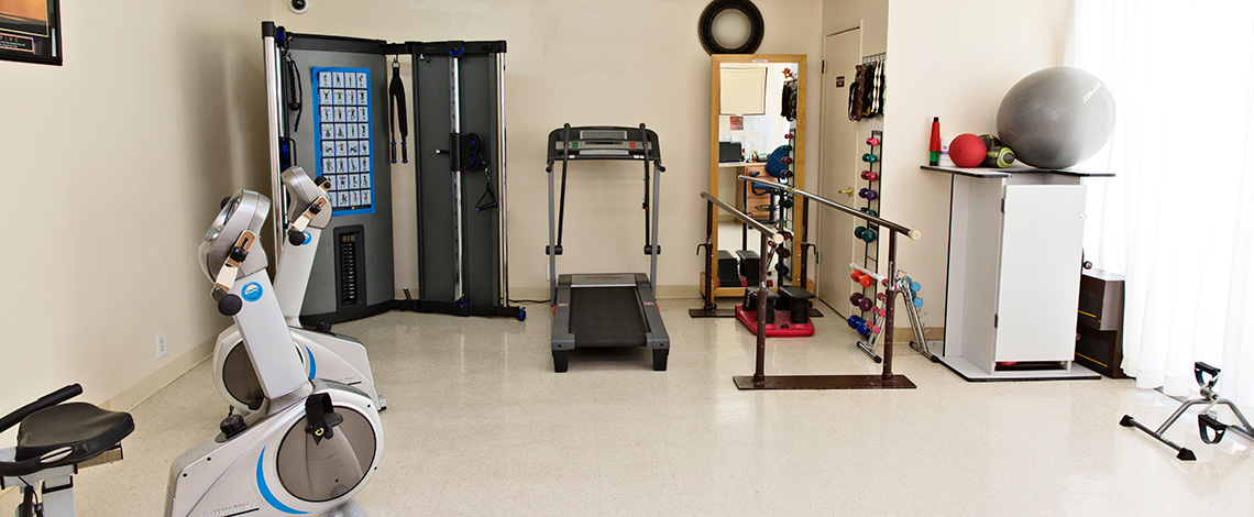 exercise equipment in rehabilitation room