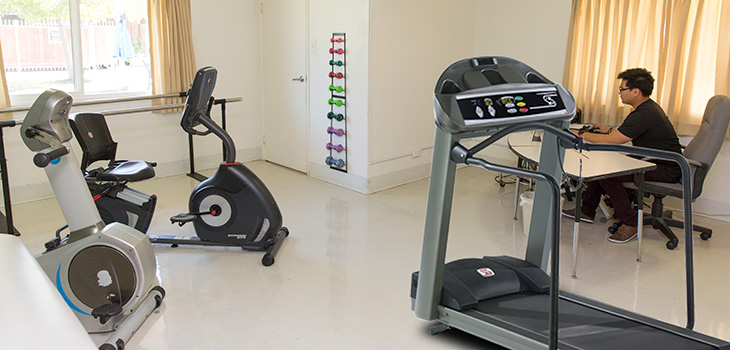 Rehabilitation room with exercise equipment and rehab staff completing work