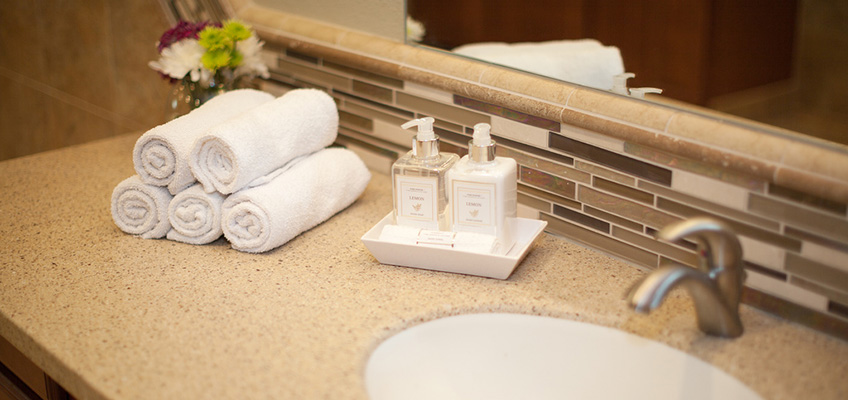 bathroom counter with soap, lotion, flowers, and towels