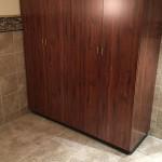 linen cabinet in bathroom