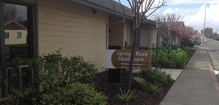 Springs Road Healthcare exterior sign and front entrance