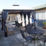 Outdoor covered gazebo with plenty of seating