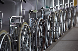 a long row of wheelchairs