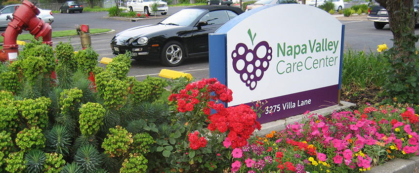 Outside Napa Valley sign surrounded by flowers