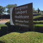 evergreen lakeport healthcare sign in well trimmed bushes