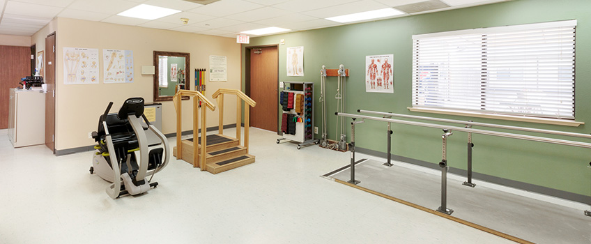 Rehabilitation room with well organized equipment
