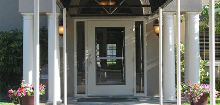 white front door with white columns