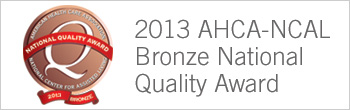 2013 AHCA bronze national quality award
