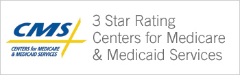CMS 3-star rating banner for Medicare and Medicaid