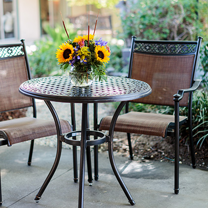 Sitting area with sunflowers on the table