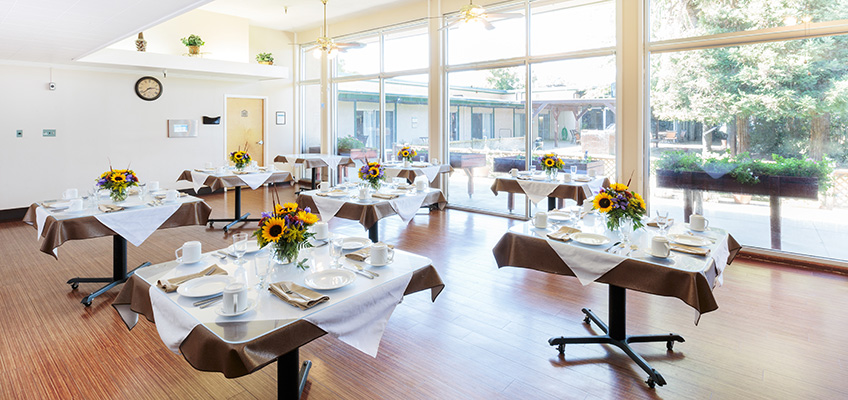 Brightly lit resident dining room with sunflowers on each table