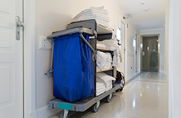 Laundry cart with trash bag and towels