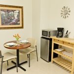bistro table and kitchenette