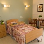 single occupancy room with bistro table