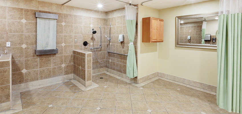 large tiled shower area