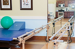 rehabilitation room shot with parallel bars and yoga ball