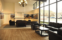 wooden floors and nice furniture in the lobby
