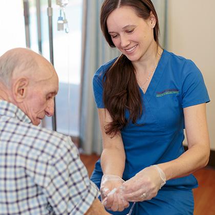 nurse attending to resident