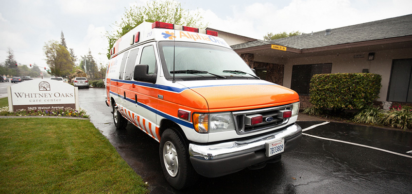 ambulance in front of the facility