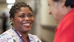 african american nurse smiling