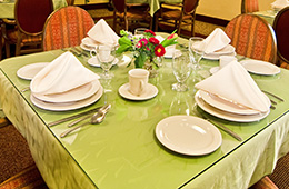 dining table with nice tableware