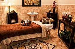 a very luxurious looking spa room with a massage table and sink