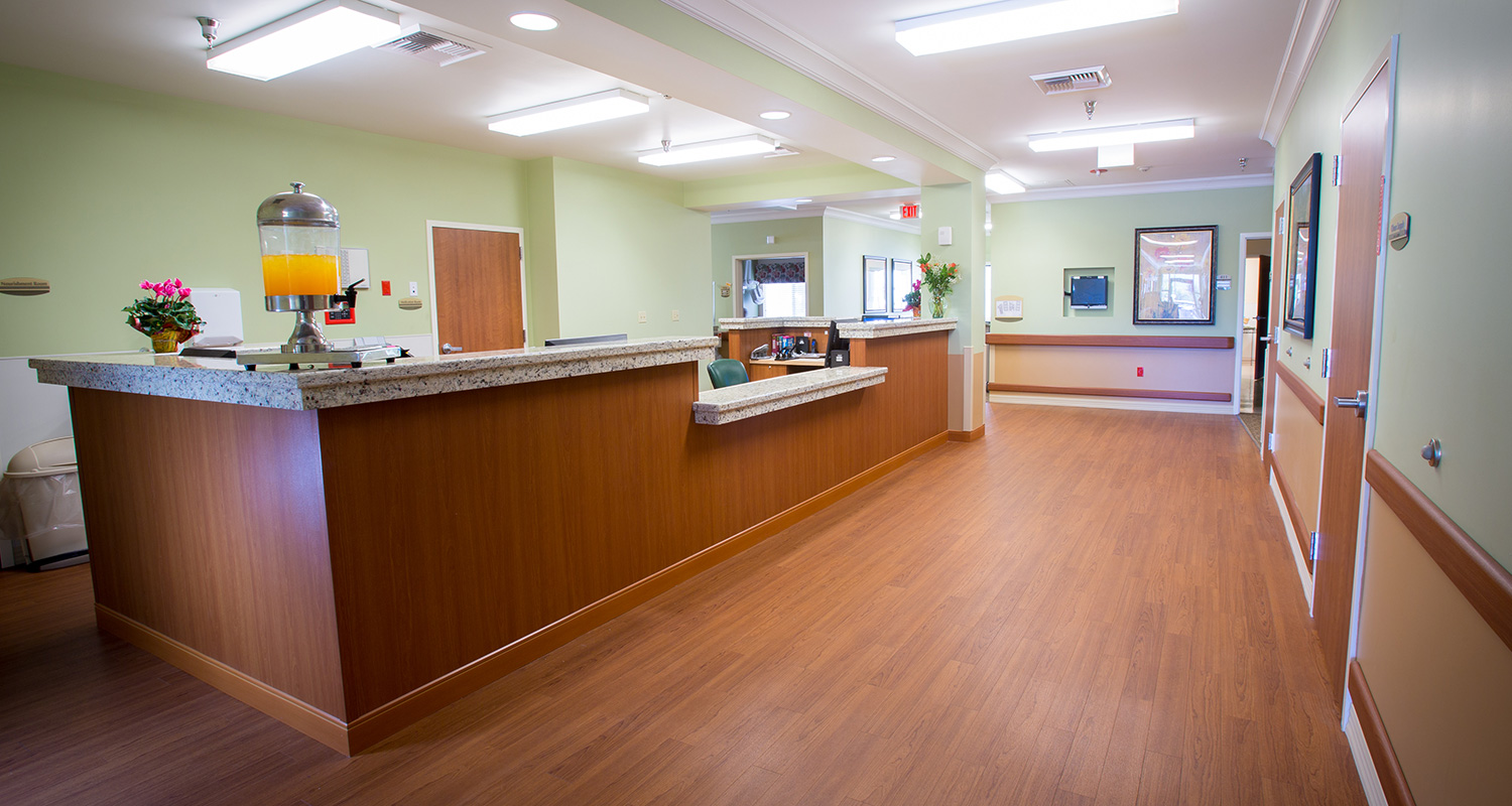Nursing station with flowers on the counter