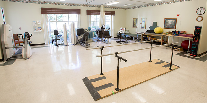 Rehabilitation gym with nicely organized equipment