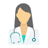 Doctor with a stethoscope around her neck icon