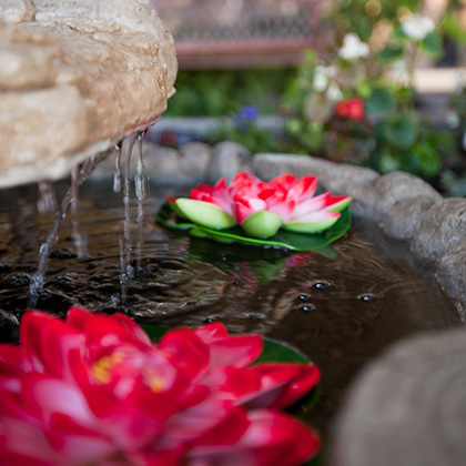 water fountain with lilies floating inside